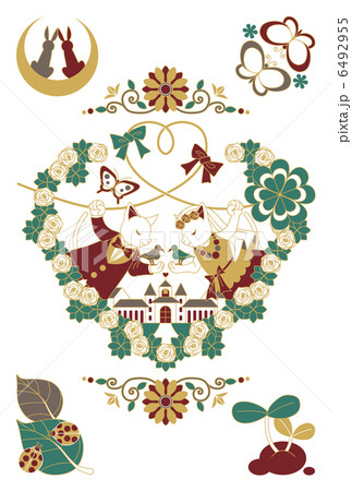 猫と鳥のカップル結婚式イラスト4色 6492955