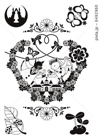 猫と鳥のカップル結婚式イラストモノクロ 6492960