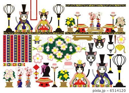 「3月3日雛祭り和風猫のお雛様雛人形」イラスト素材集 6514120