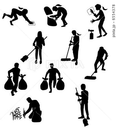 掃除する人々のイラスト素材 ... : 動物 シルエット イラスト : イラスト