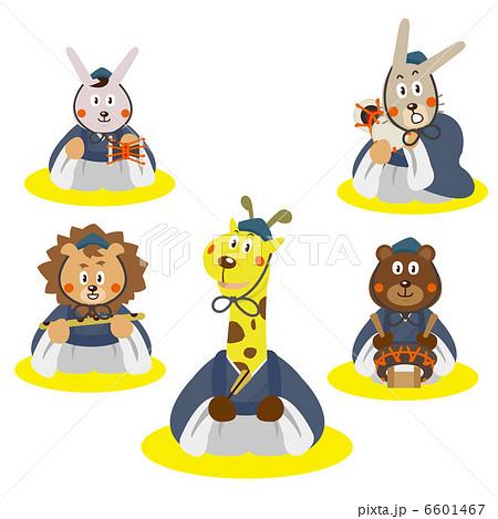 五人囃子ひなまつり動物イラスト季節のイラスト素材 6601467