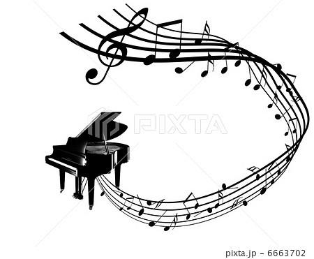 ピアノ 五線譜 譜面 ピアノを弾く 演奏 コンサート のイラスト素材