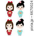 振り袖 着物 和服のイラスト 6670024