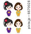 振り袖 着物 和服のイラスト 6670028