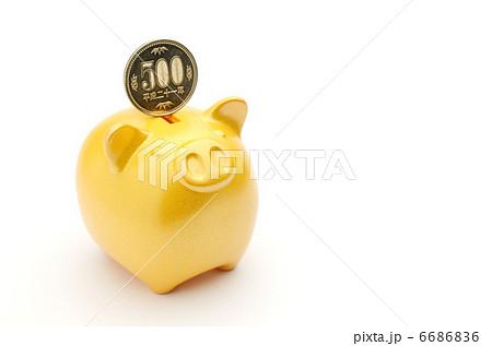 豚の貯金箱 金 500円 6686836