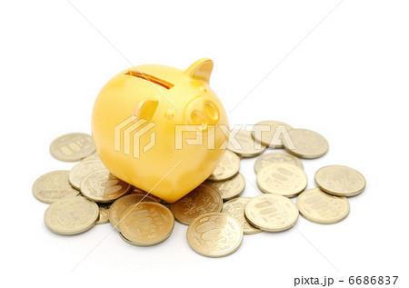 豚の貯金箱 金 500円 6686837