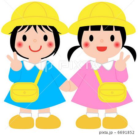 幼稚園児 保育園児 女の子のイラスト素材
