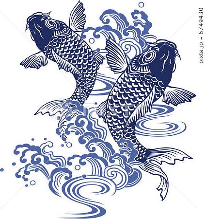 鯉の滝登りのイラスト素材 6749430  PIXTA