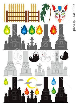 夜の墓地「墓石・卒塔婆・お化け・火の玉・狐面・柳」イラスト素材集 6811384