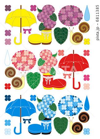 梅雨雨季「紫陽花と傘と蝸牛」イラスト素材集 6811385