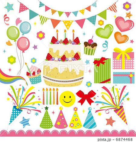 誕生日セットのイラスト素材 6874468 Pixta