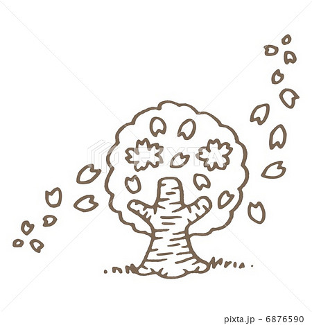 桜の木の線画