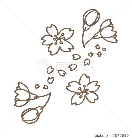 桜の線画のイラスト素材 6876619 Pixta