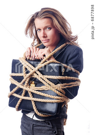 Businesswoman tied with rope on whiteの写真素材 [6877898] - PIXTA