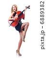 Woman playing cello on white 6889382