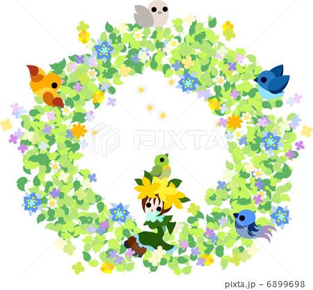 若葉と花と小鳥と一緒に可愛い妖精がリースの上で春を楽しんで