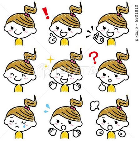 女の子 表情 手描き風のイラスト素材 6901810 Pixta