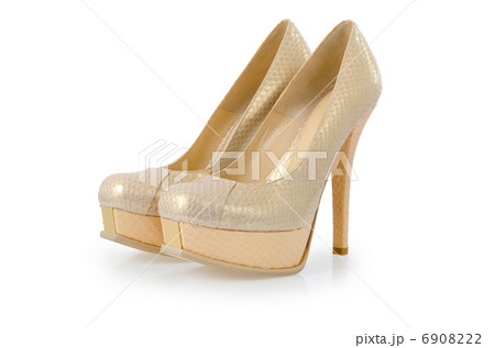 Nice woman shoes isolated on whiteの写真素材 [6908222] - PIXTA