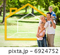 Happy family in the park with house illustration 6924752