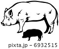 big hog black and white vector outline and silhouette 6932515
