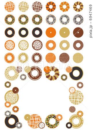 お菓子「ドーナッツ」アイコン飾り枠イラスト素材集 6947469