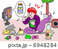 ダイエット 女性 人物のイラスト 6948284