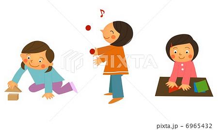 幼児 幼児 積み木 : 室内遊び(女の子)のイラスト ...