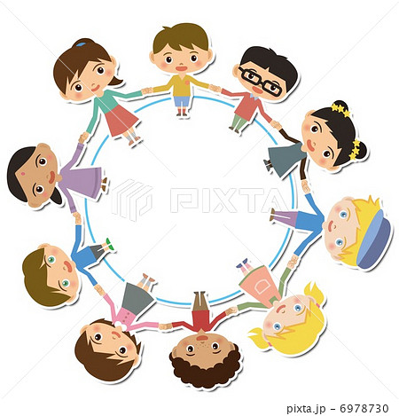 つながる子供達のイラスト素材 6978730 Pixta