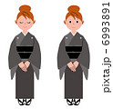 葬儀 女性 着物のイラスト 6993891