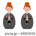 女性 合掌 着物のイラスト 6993930