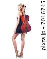 Woman playing cello on white 7016745
