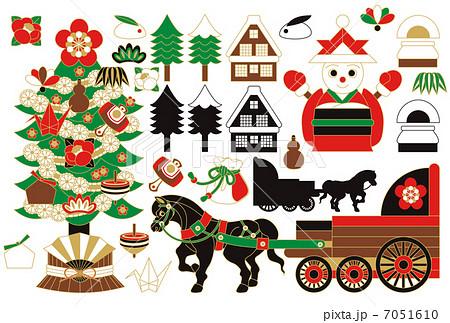 和風「クリスマスツリー・雪だるまサンタクロース・馬車・巾着袋・樅ノ木・日本家屋・縁起物」冬のイラスト 7051610