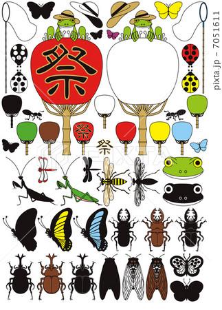 蛙と団扇と昆虫「蝶・蝉・甲虫・鍬形虫・蜂・螳螂・蜻蛉・蟻・天道虫」夏のイラスト素材集 7051611