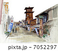 川越・時の鐘のスケッチ画 7052297