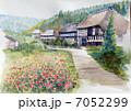 茅葺き民家集落のスケッチ画 7052299