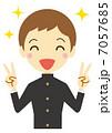勝利のVサイン 男子学生(学ラン) 7057685