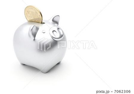 豚の貯金箱 銀色 7062306