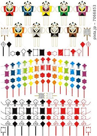お正月凧揚げ「虹色7色連凧・和凧・六角凧・菱凧・奴凧」和風アイコンイラスト素材集 7066853