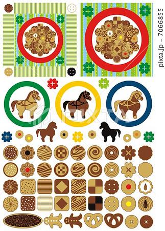 お菓子「かわいいクッキーとお皿」アイコンワンポイントイラスト素材集 7066855