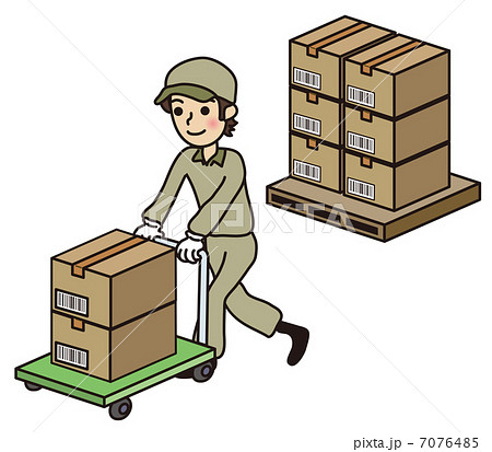 台車でダンボール箱を運搬する男性のイラスト素材 [7076485] - PIXTA
