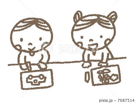 お絵描きをする子供のイラスト ... : 幼児 お絵かき : 幼児