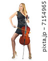 Woman performer with cello on white 7154965