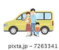 四人家族 車 親子のイラスト 7263341