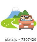 ドライブ 車 富士山のイラスト 7307420