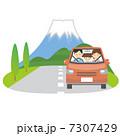 ドライブ 車 富士山のイラスト 7307429
