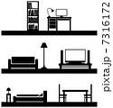 家具や部屋のベクターシルエット 7316172
