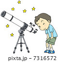 天体観測 天体望遠鏡 子供のイラスト 7316572