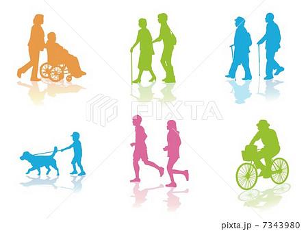 街の通行人シルエットのイラスト素材 7343980 Pixta