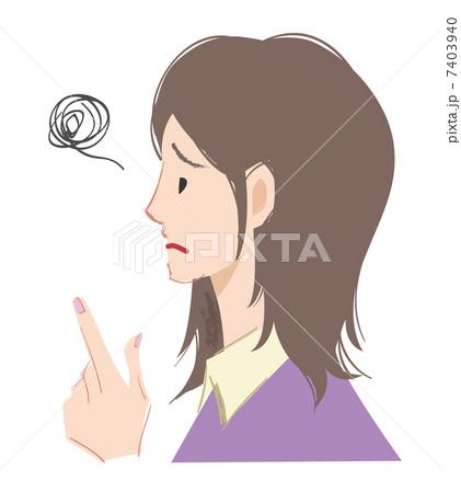 指を指す女性困り顔左向きのイラスト素材 7403940 Pixta