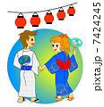 盆踊り 納涼 浴衣のイラスト 7424245
